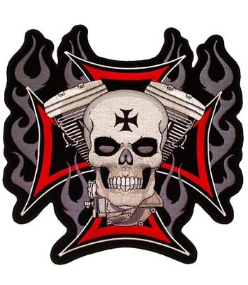 Iron Cross Skull & V-Twin Engine Patch, Motorcycle Patches