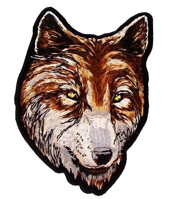 Brown & White Wolf Head Patch, Wolf Patches