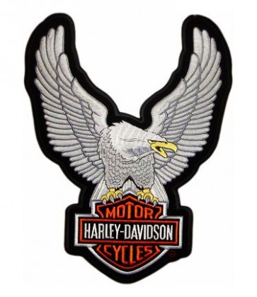 Harley Davidson Upwing Eagle Silver Embroidered Patch