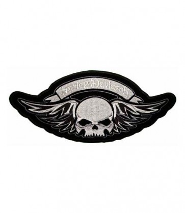 Embroidered Harley Davidson Winged Skull Patch