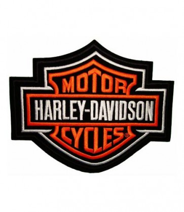 Embroidered Harley Davidson Bar & Shield Orange Patch