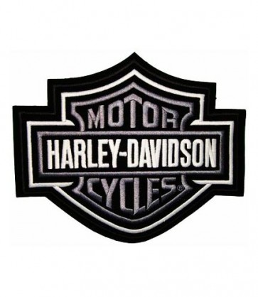 Embroidered Harley Davidson Bar & Shield Silver Patch