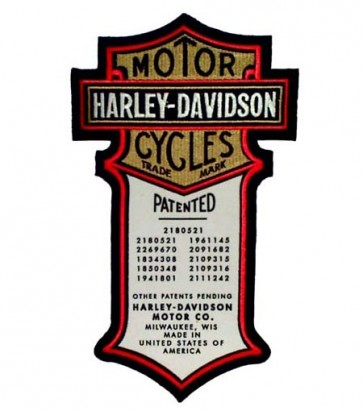 Embroidered Harley Davidson Patents Original Sew On Motorcycle Patch