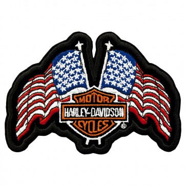 Embroidered Harley Davidson USA Flags Bar & Shield Patch