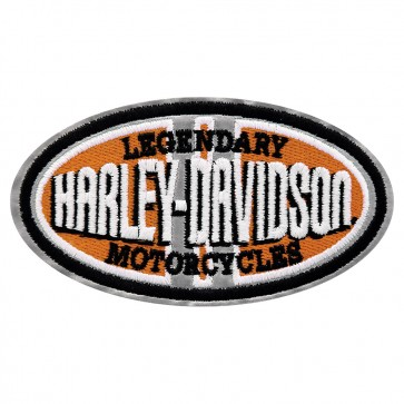 Embroidered Harley Davidson Grey Stripes Safety Reflective Oval Patch