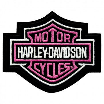 Embroidered Harley Davidson Pink Bar & Shield Patch