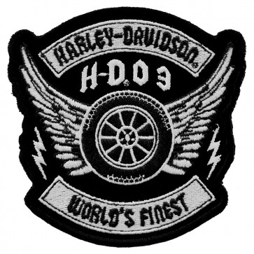 Embroidered Harley Davidson Militia Black & White Patch