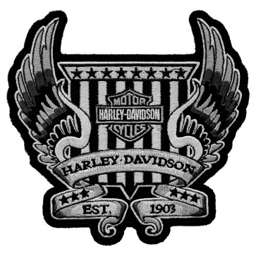 Embroidered Harley Davidson Winged Crest Motorcycle Patch