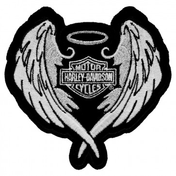 Harley Embroidered Silver & White Guardian Angel Wings Patch