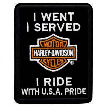 Harley Veteran I Served I Ride Embroidered Military Biker Patch