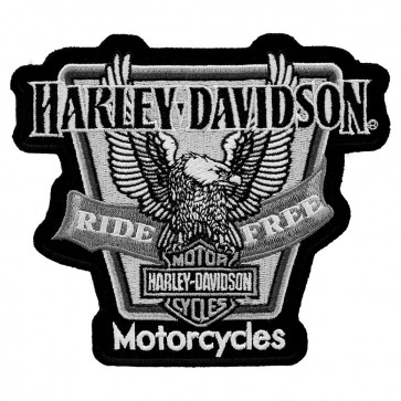 Harley Embroidered Upwing Banner Eagle Patch