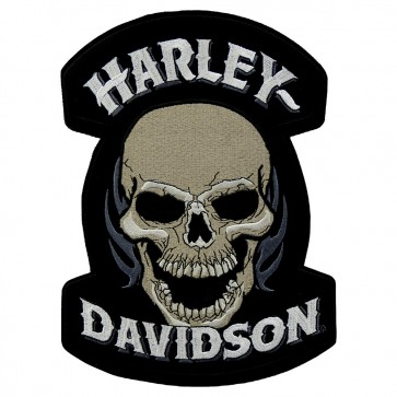 Embroidered Harley Davidson Devour Skull Motorcycle Patch