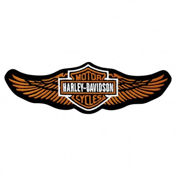 Harley Davidson Orange Straight Wing Embroidered Patch