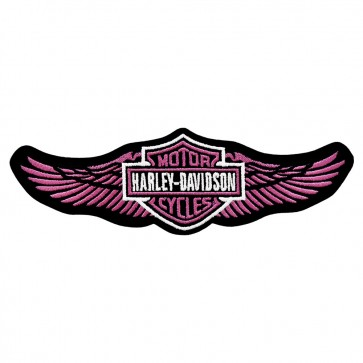 Harley Davidson Pink Straight Wings Embroidered Patch