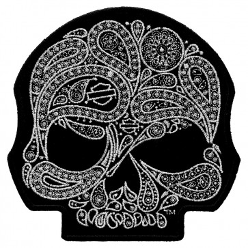 HD Skull Paisley Motorcycle Metallic Silver Embroidered Patch