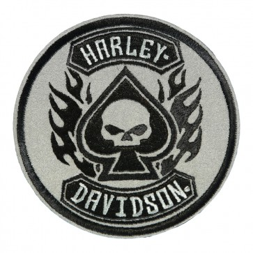 Sew On Harley Davidson Spade Willie G Skull Reflective Patch