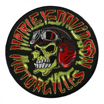 Embroidered Sew On Harley Davidson Kustom Built Biker Skull Patch