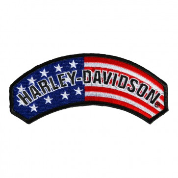 Sew On Harley Davidson RWB U.S. Flag Rocker Patch