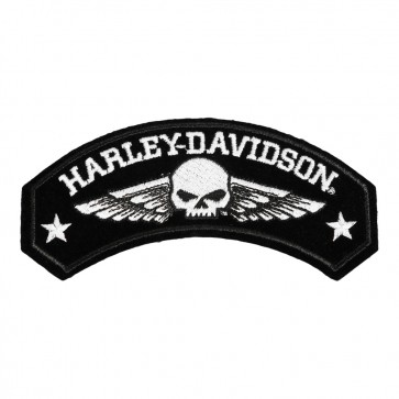 Embroidered Willie G Harley Davidson Military Wings Rocker Patch