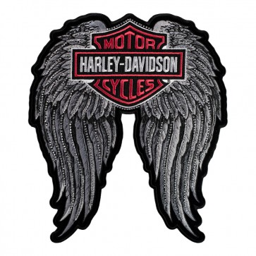Embroidered Harley Studded Angel Wings Bar & Shield Patch