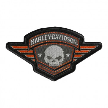 Embroidered Harley Davidson Willie G Skull Badge Patch