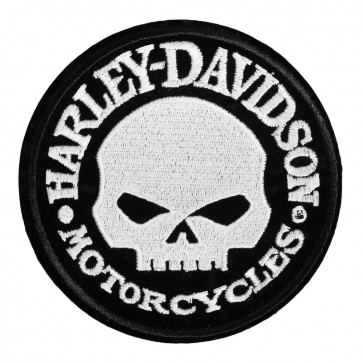 Black White Harley Davidson Hubcap Willie G Skull Patch