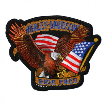 Embroidered Harley Davidson Patriotic Eagle Motorcycle Patch