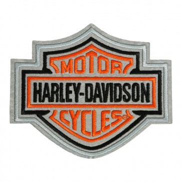 Medium Size Sew On Harley Davidson Orange & Black Reflective Bar & Shield Patch
