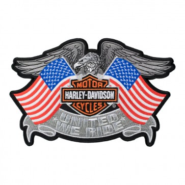 Embroidered Harley Davidson United We Ride Eagle & Flags Patch
