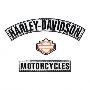 Embroidered Harley Davidson Black & White Rockers Patch Set