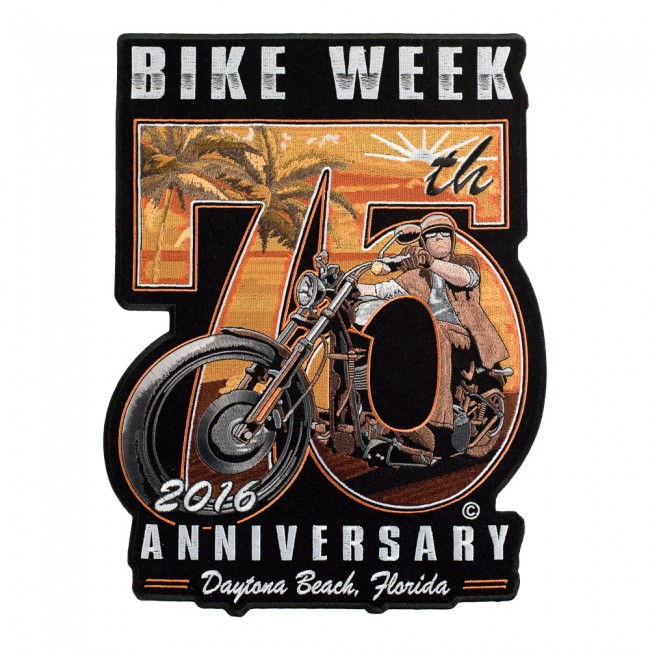 motorcycle anniversary images  2016 Daytona Bike Week 75th Anniversary Sunset Rider Event Patch ...