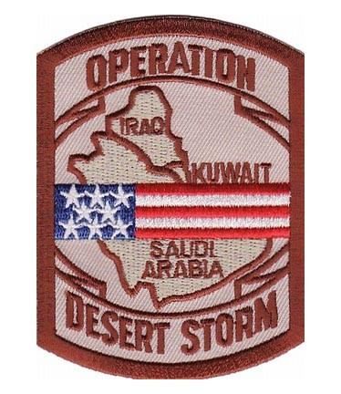 Desert Storm Map US Flag Patch Military Patches