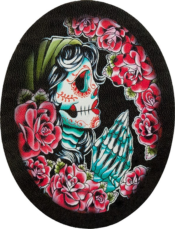 blue red praying sugar skull roses genuine leather patch