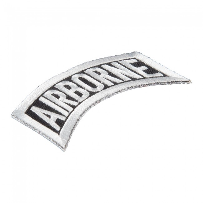 Black & White Airborne Rocker Tab Patch, U S  Army Patches