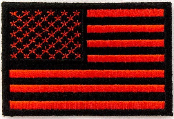 Embroidered American Flag Red Black Sew On Iron Patch