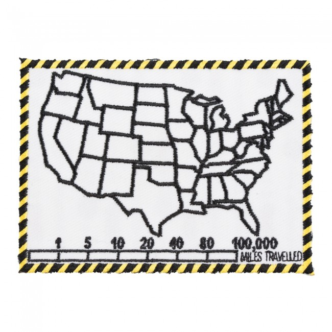 50 states map mile tracker white patch biker patches