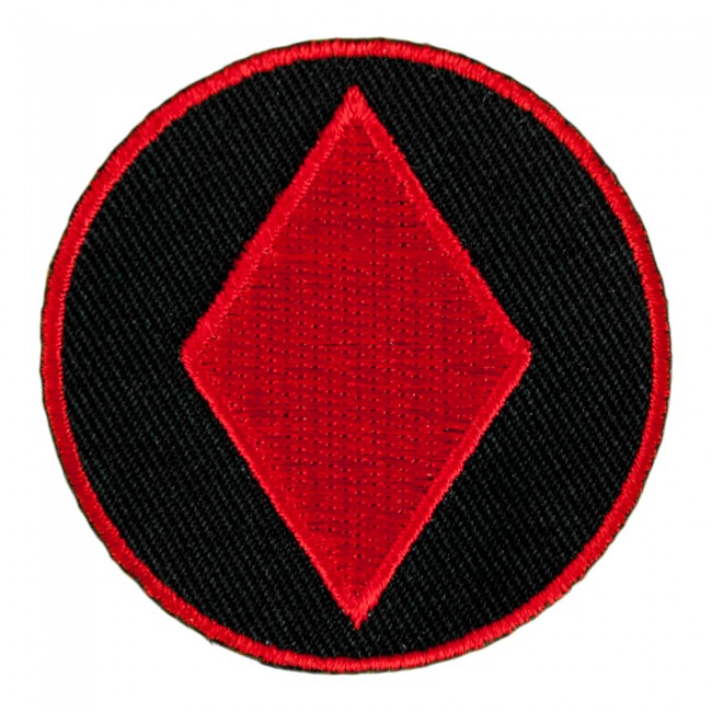 Red Diamond Symbol On Round Patch Playing Card Patches