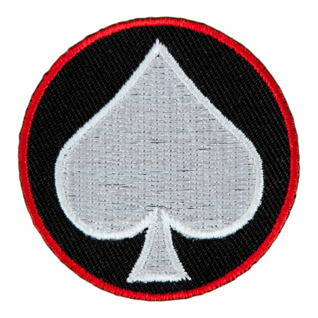 White Spade Symbol On Round Patch Playing Card Patches