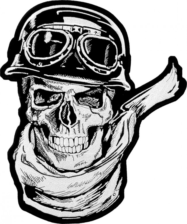 Rider Skull Wearing Scarf Helmet And Goggles Patch