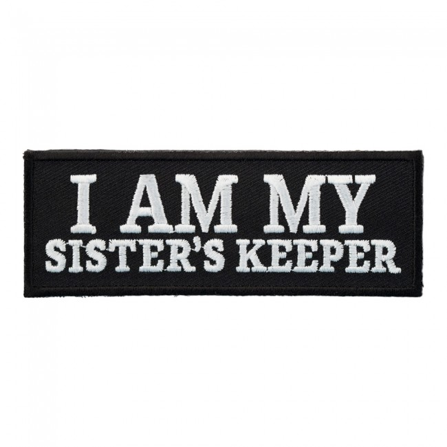 Biker Vest Patches Patches Sew On Service Am My Sister's Keeper B & W Patch | Ladies Biker Sayings Patches