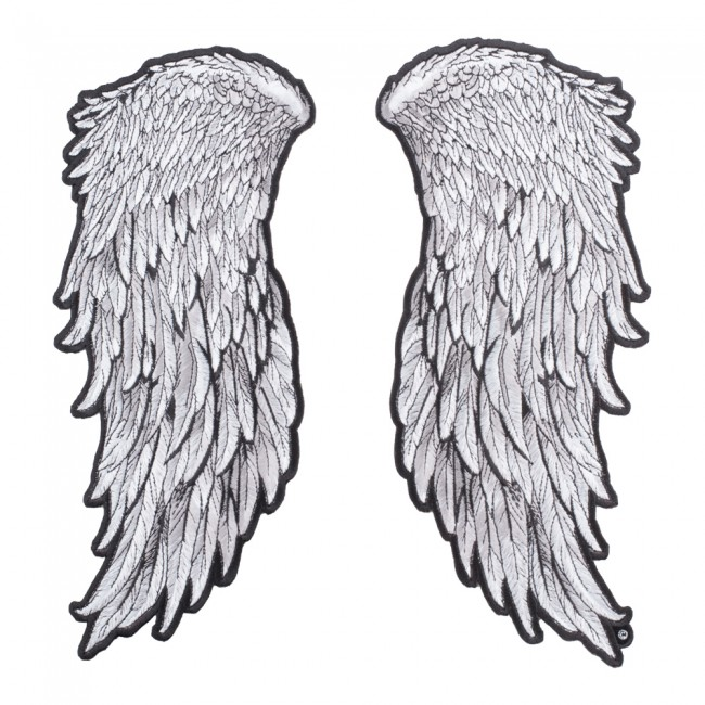grey feathered split angel wings patch angel wings back patches