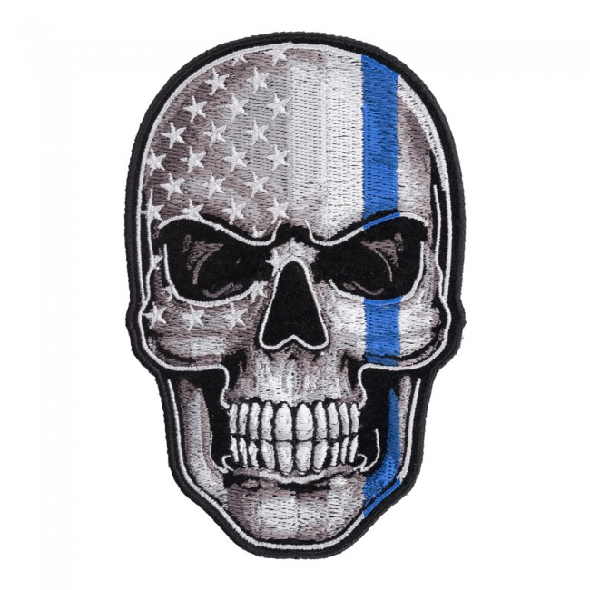thin blue line subdued us flag skull patch police patches