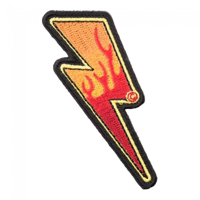 Flaming Lightning Bolt Left Patch, Lightning Patches