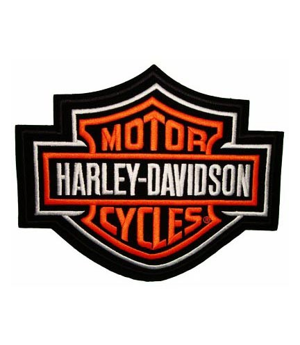 harley davidson classic bar & shield orange patch | harley patches