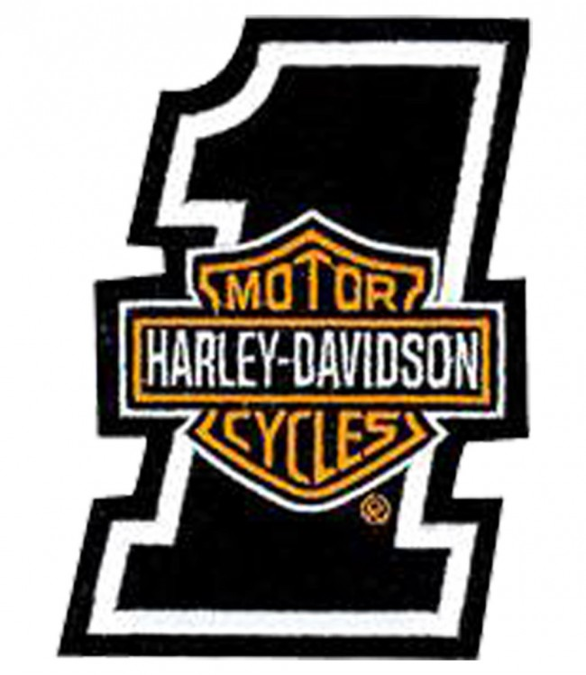 harley davidson #1 orange bar & shield patch | harley patches