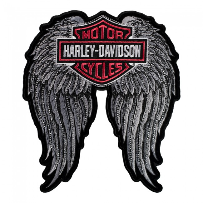 Embroidered Harley Studded Angel Wings Bar Shield Patch