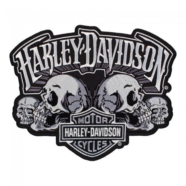 harley davidson skull text subdued bar & shield patch | harley