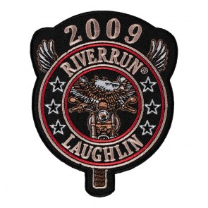 Sew On 2009 Laughlin River Run Eagle Biker Round Tab Event Patch
