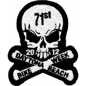 2012 Daytona Beach Bike Week 71st Skull & Crossbones White Event Patch