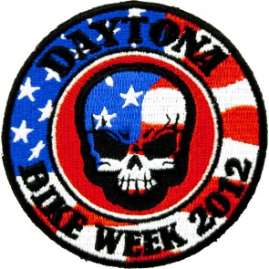 2012 Daytona Bike Week American Flag Skull Round Event Patch